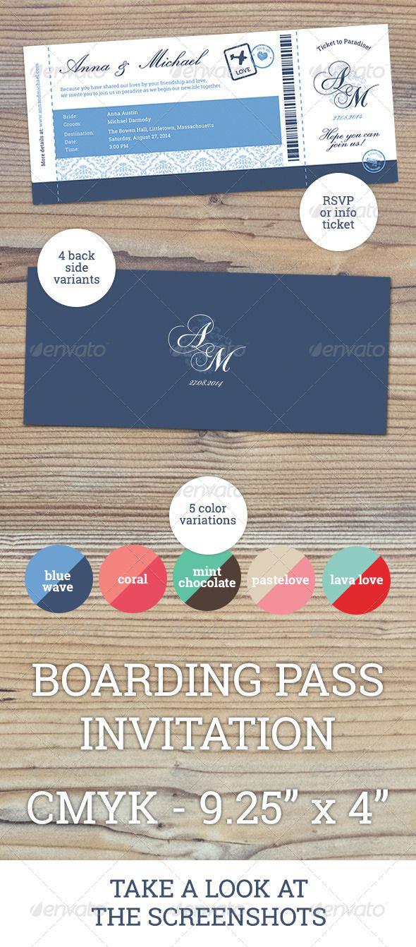 Printable, fully customisable Boarding Pass Invitation with 5 different color sets.  https://graphicriver.net/item/elegant-boarding-pass-wedding-invitation-rsvp/6994388