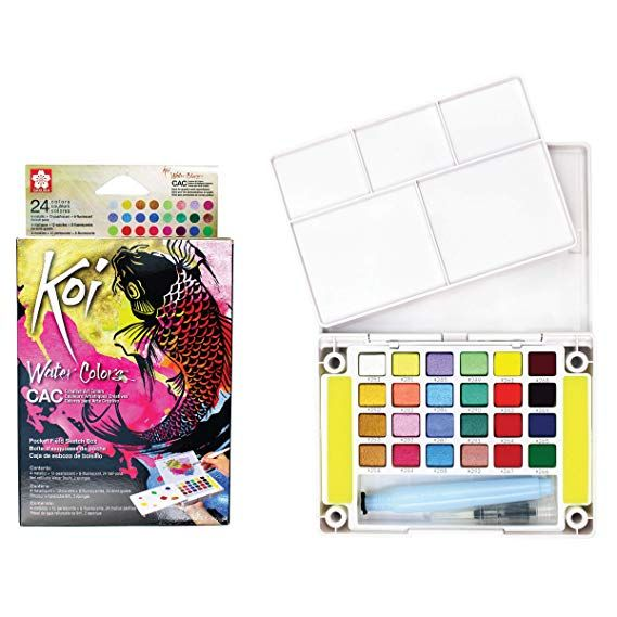 Amazon Com Watercolor Paint Set 48 Assorted Colors In Half Pans