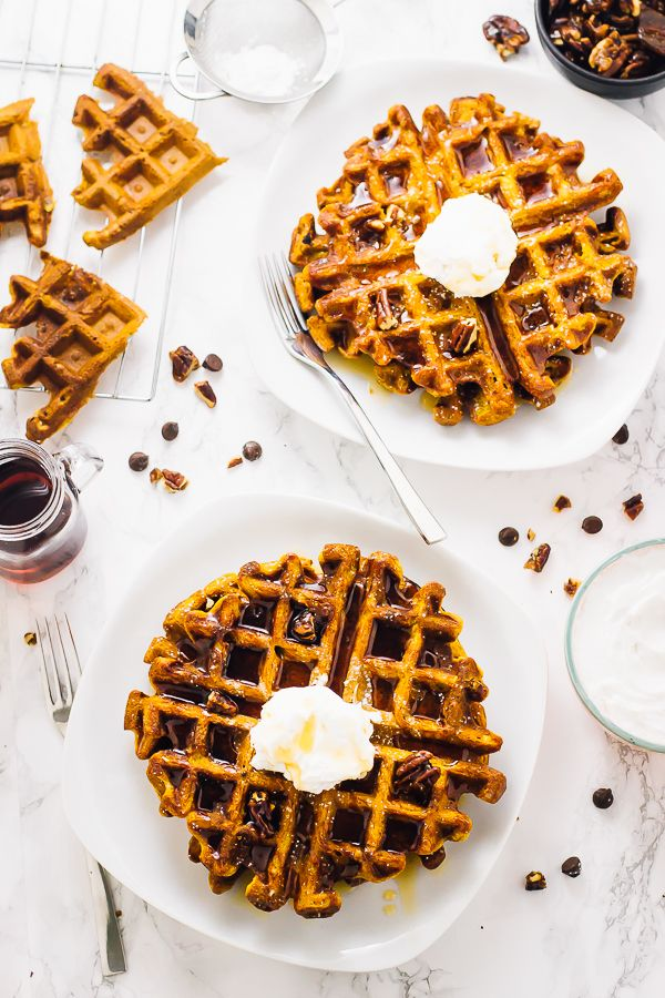 These Flourless Vegan Pumpkin Waffles are a tried and true waffle recipe. They're delicious, freezer-friendly and are so easy to make!