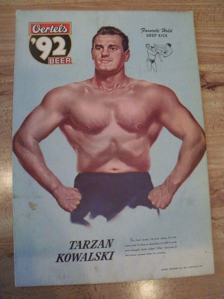 "1950s Oertels 92 Beer Sign Wrestler Killer Kowalski Cardboard 14"" x 20"" | eBay"