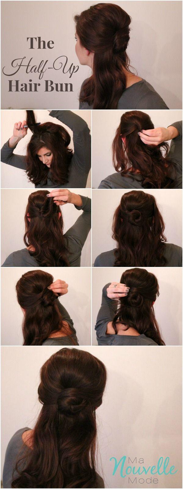 Easy Half Up hair bun step-by-step tutorial                                                                                                                                                                                 More