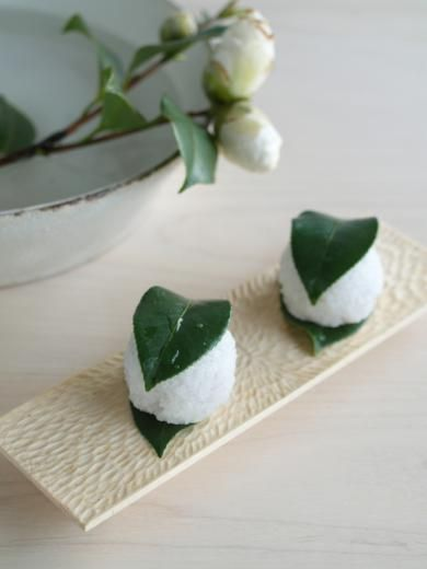 Tsubaki mochi - Japanese camellia mochi (rice cake)