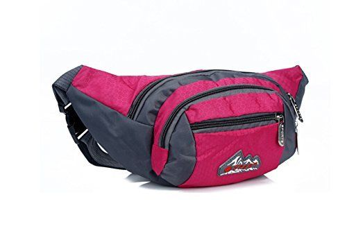 OrrinSports 4Zipper Polyester Stylish Fanny Pack with Adjustable Belt for HikingRunningSportsTravel Pink *** Click image to review more details.Note:It is affiliate link to Amazon.