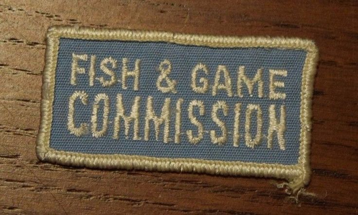 Rare Fish & Game Commission Patch Blue White Rectangular