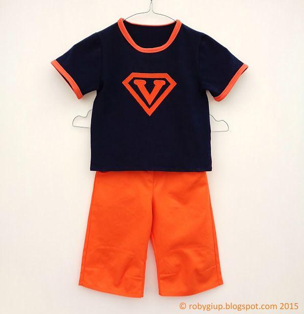 """Completo estivo bambino (maglietta e pinocchietti appena sotto al ginocchio) con logo di """"Superman"""" personalizzato con l'iniziale del bimbo - by RobyGiup handmade"""