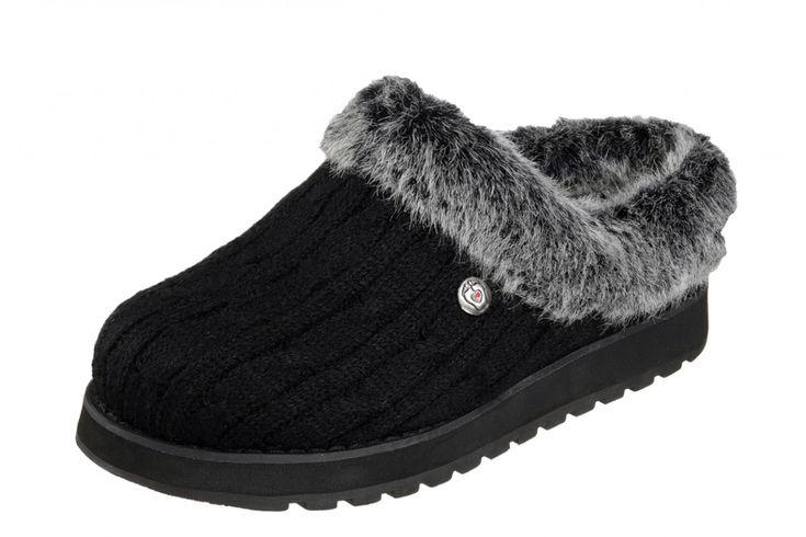 Skechers Bobs Keepsakes Ice Angel Black Mule Slippers