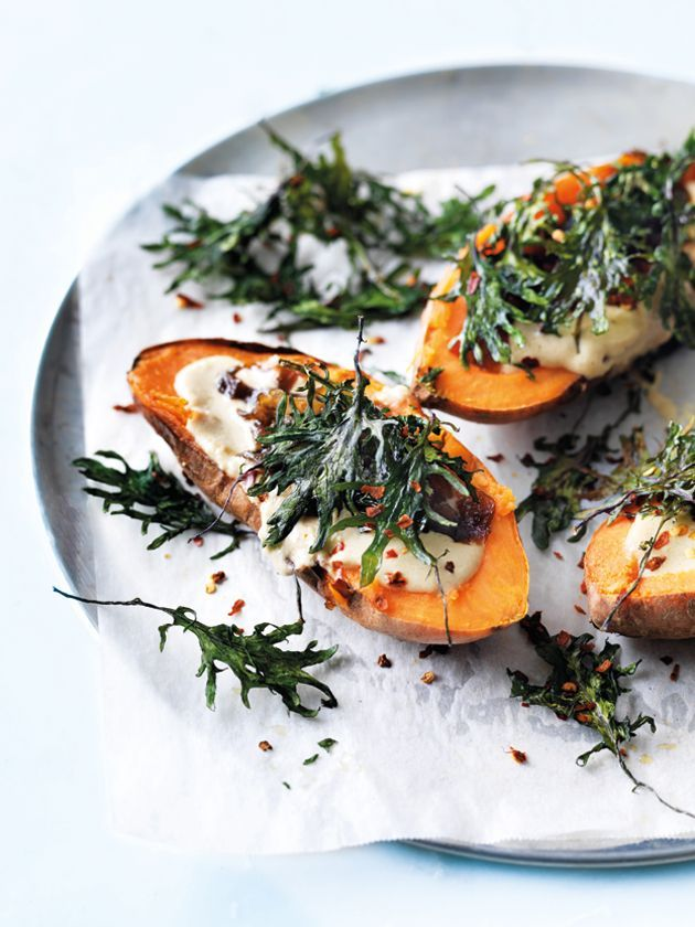 baked sweet potatoes with hummus and kale