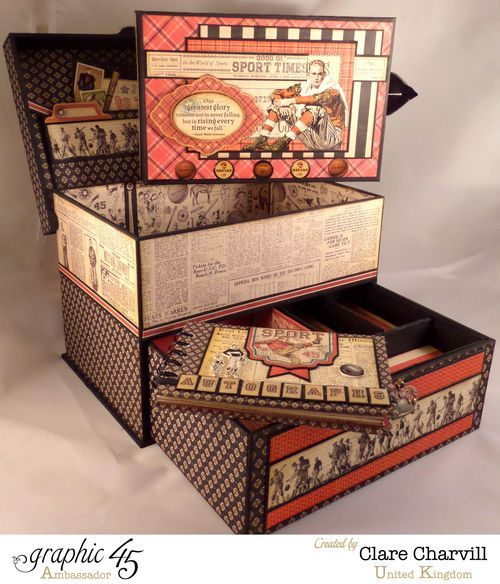 Sporting Keepsake Box & mini album by Clare Charvill using Good ol' Sport #graphic45