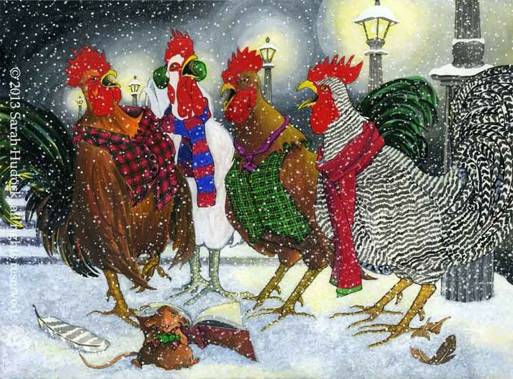 Roosters Caroling Christmas Card   © 2013 Sarah Hudock, all rights reserved.