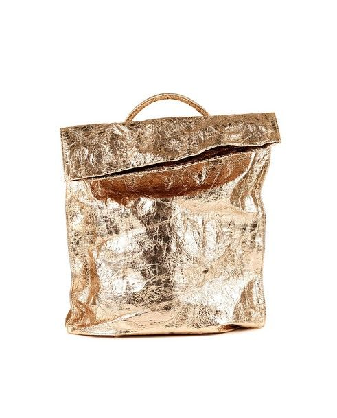 ZILLA Gold laminated backpack leather lining with one handle two adjustable shoulder straps zipper closure Size: 51x34 cm