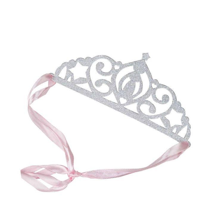 Princess Perfection Zilveren Glitter Kroontjes van Ginger Ray, 5 stuks   Prinses feestartikelen - Hieppp