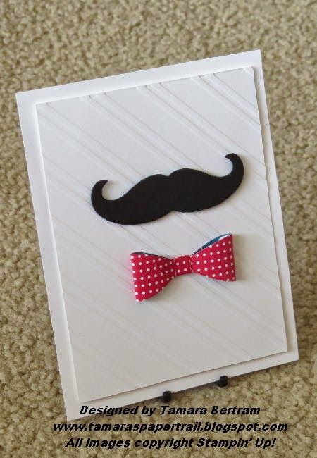 Tamara's Paper Trail: Bow Builder Punch by Stampin' Up;Handmade Cards; Moustache Framelit; Stampin' Up!; Handmade Masculine Card