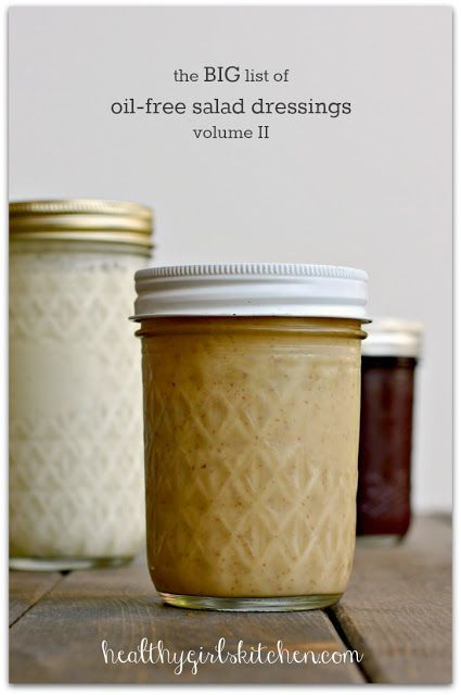 The Big List of Oil-free Salad Dressings, Volume II - Healthy Girl's Kitchen http://www.bloglovin.com/viewer?blog=3079785&post=1713683883