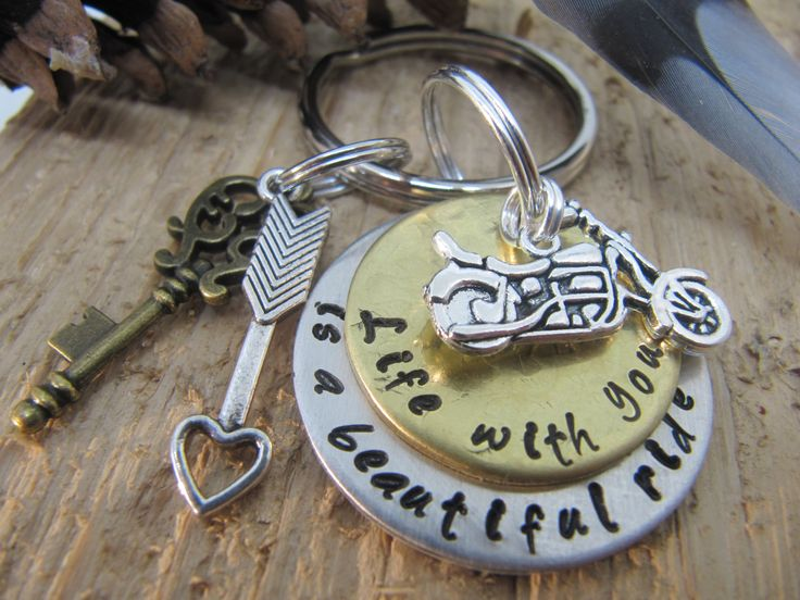 hand stamped key chain, motorcycle key chain, anniversary gift, gift for boyfriend, valentines day gift, girlfriend, spouse gift, motorcycle by InTheQuiet on Etsy