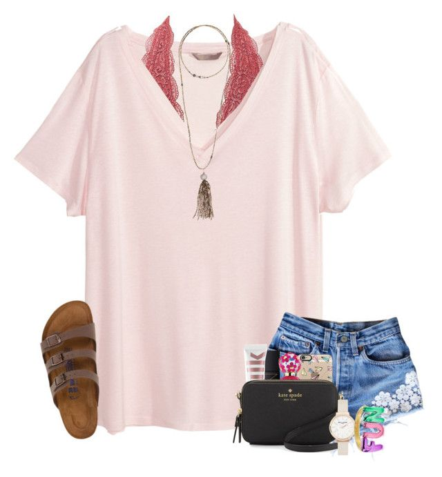 """""""semi-ready for spring """" by simply-positive-prep ❤ liked on Polyvore featuring H&M, Charlotte Russe, Bettina Duncan, Birkenstock, Casetify, NARS Cosmetics, Marc Jacobs, MILK MAKEUP, Kate Spade and Olivia Burton"""