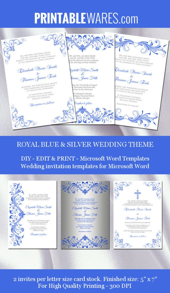 royal blue silver wedding invitation templates