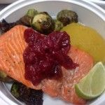 Gourmet Diet Delivery Miami Healthy Meal Delivery Service Miami Paleo Diet Meals Miami Weight Loss Program Miami Diet Food Delivered Miami  Baked Wild Sockeye Salmon with Cranberry Compote, Masked Acorn Squash and Roasted Brussel Sprouts