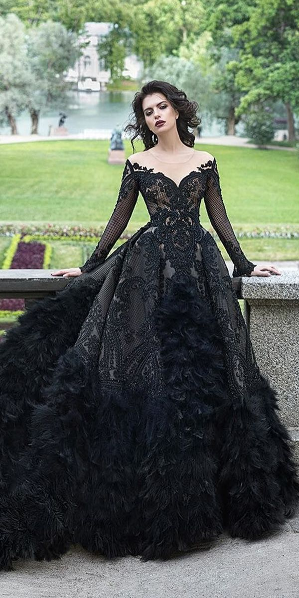 974cae0cefba gothic wedding dresses ball gown vintage with sleeves malyarova olga
