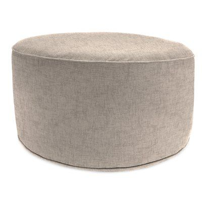 """Laurel Foundry Modern Farmhouse 24"""" Round Pouf Outdoor Ottoman Cushion in Oyster"""