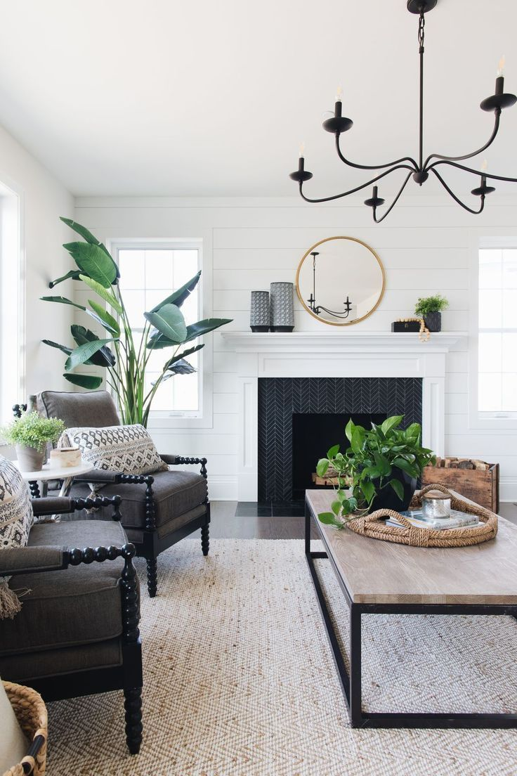 Black and White living room with greenery | Farm house ...