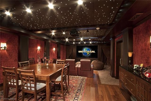 Nice in home movie theater with hardwood floor and carpet.