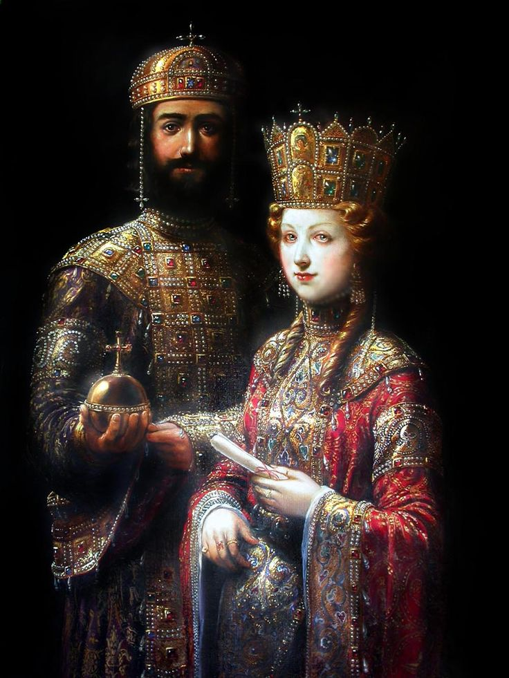 Click the image to open in full size.    Appears to be based on the Emperor John II and Empress Irene with the Virgin Mary Mosaic in Hagia Sophia, Constantinople.