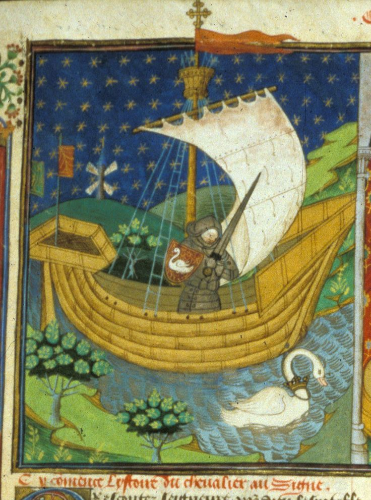 Detail of a miniature of a knight in a boat drawn by a swan.  Origin:France, N. (Rouen)  Attribution:Talbot Master