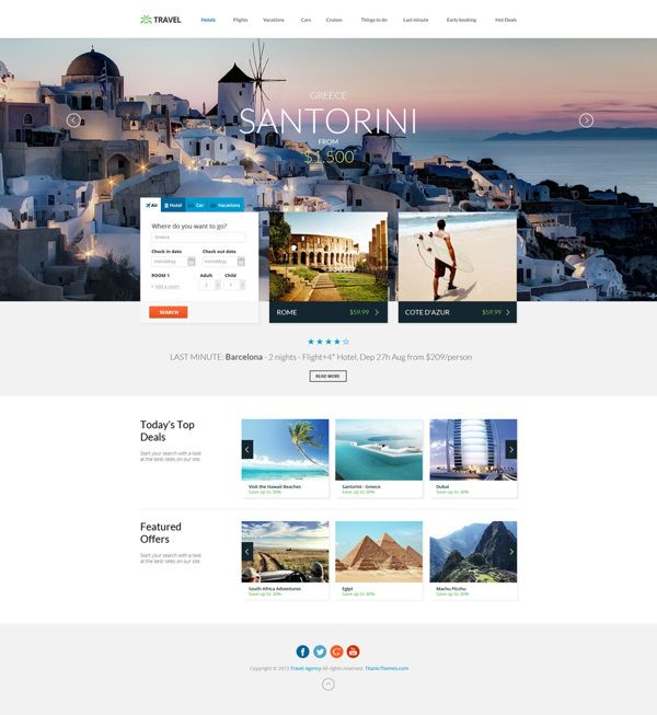 Travel Agency - Multipurpose Booking PSD Template on Web Design Served