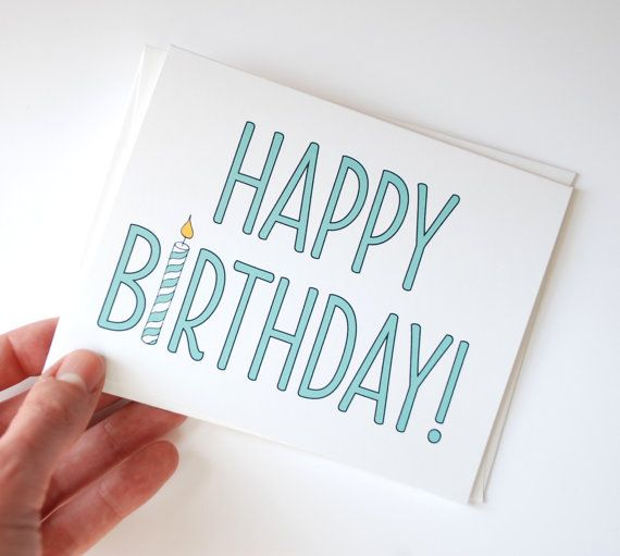 Very simple birthday card, but I kinda love it. 'Happy birthday!' by Rowhouse14 on etsy.