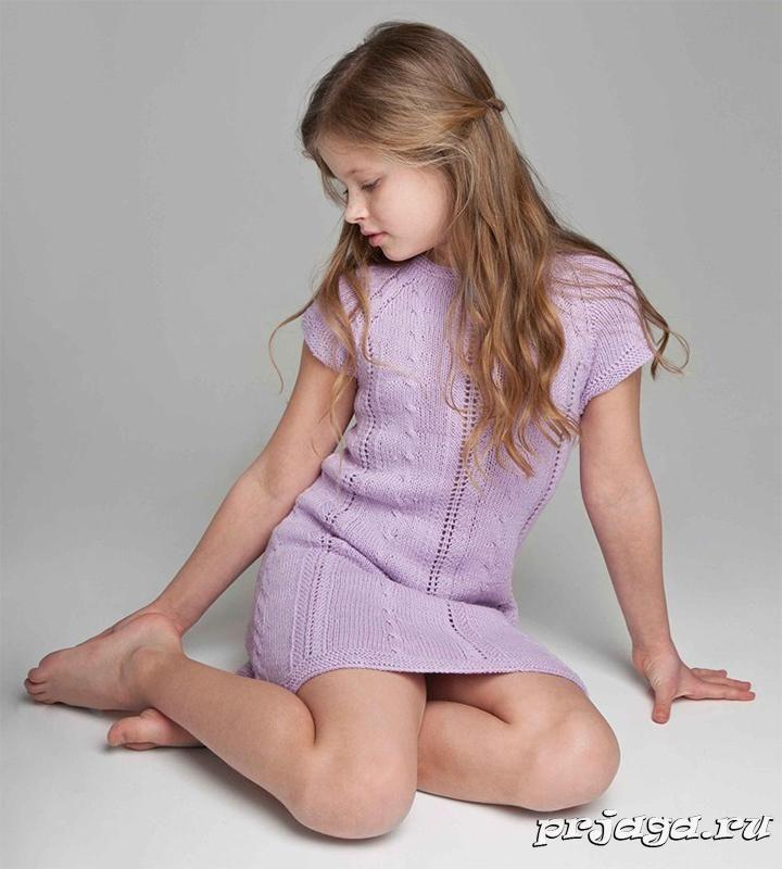Платье – туника спицами для девочки