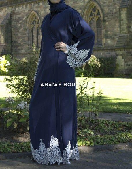 Blue & White Angelic lace Open Abaya
