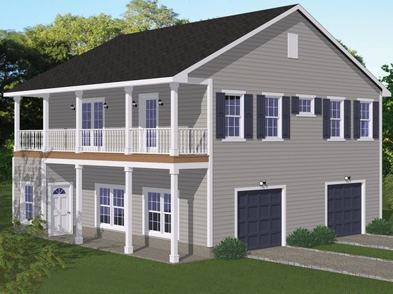 078g 0009 two car garage apartment plan mother in law for Mother in law garage apartment