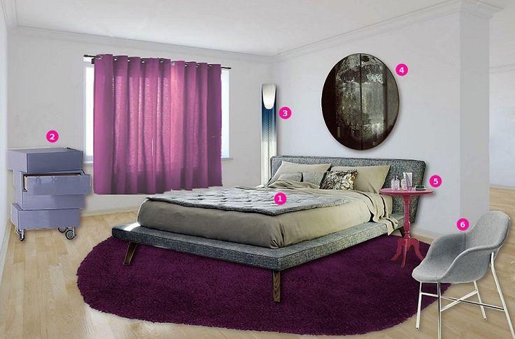 Violet mood | 1. Tray bed - Letti&Co. 2. Morgana - LAGO 3. Toobe - Kartell 4. My moon my mirror - Diesel 5. Dandy - Miniforms 6. Tia Maria - Moroso |  Available on http://www.malfattistore.it/2016/01/una-camera-color-lavanda-per-un-dolce-riposo/  #malfattistore #shoponline #bedroom #camera #madeinitaly #design #polyvore