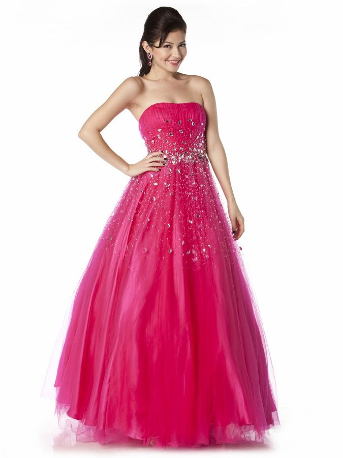 # Jeweled Full Length Prom Ball Gown #hotpinkquinceaneradress #vestidode15fucsia