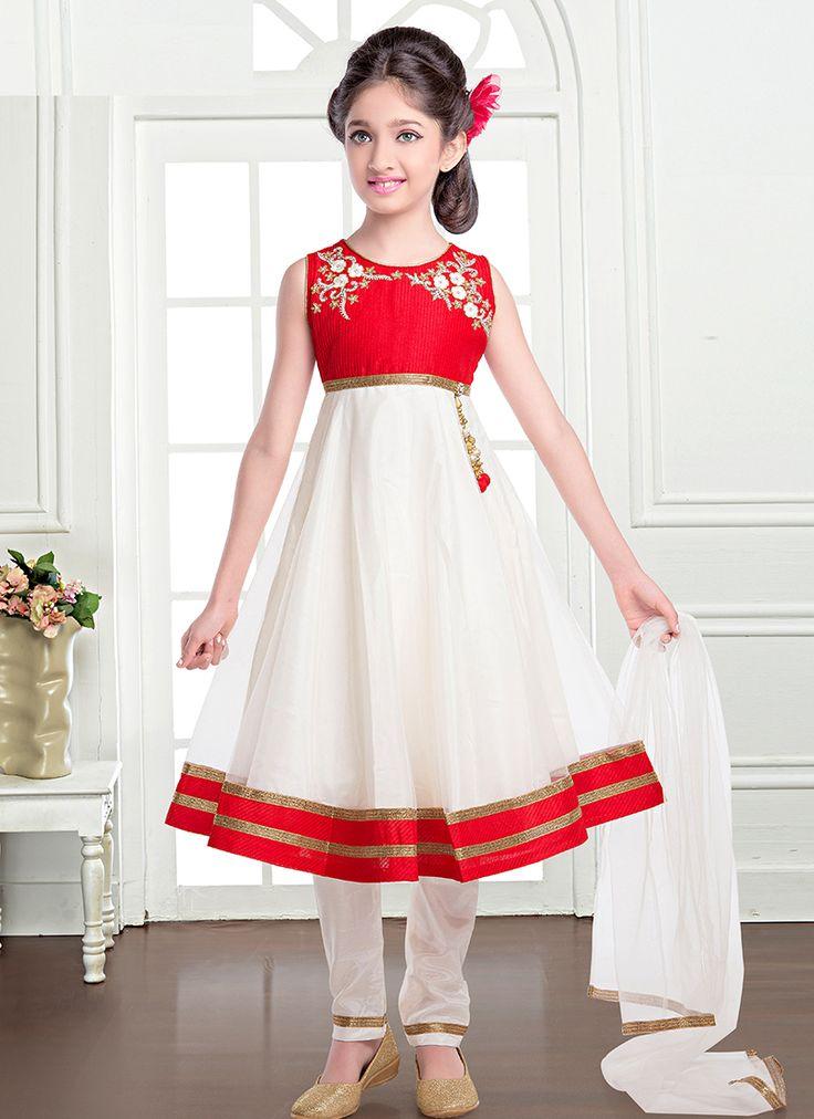 Groovy White And Red Net Designer Kids Wear Salwar Suit