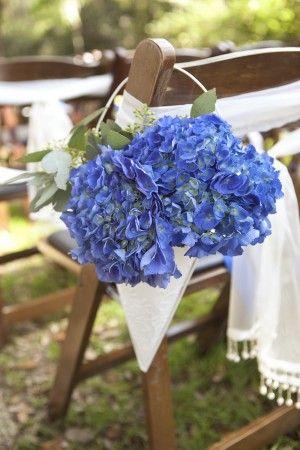 Hydrangea-Wedding-Ceremony-Aisle-Chair-Decor... I want white hydrangea with navy cone holders... so cute!
