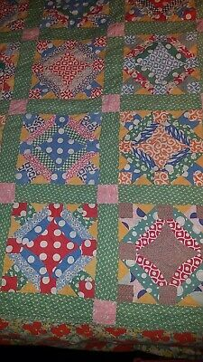Antique 30's floral Feed sack/ floursack Quilt Hand Stitched Feedsack Piece