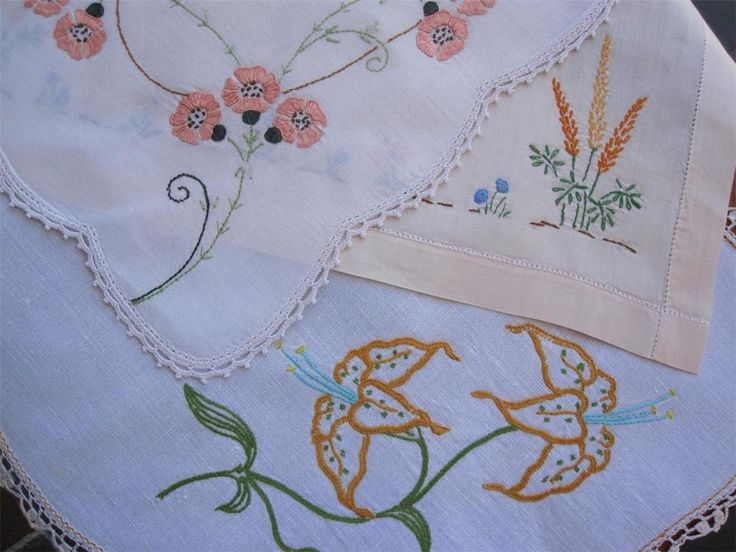 Three Large Hand Embroidered/Crocheted Edge  DOILIES 47cms x 35cms 44cms x 34cms 41cms x 27cms In good Vintage Condition. I have taken lots of pictures which give a better visual than the written description. *Laundered *Starched *Ironed  so come to you ready to use.