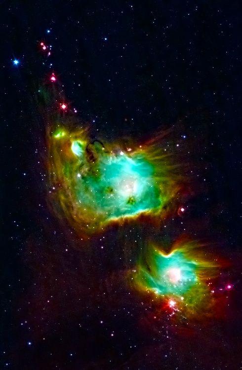 Orion Nebula. Highlights of Messier 78: a reflection nebul