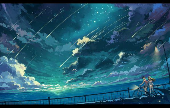 Обои арт, haraguroi you, девушка, парень, небо картинки на рабочий стол, раздел аниме - скачать