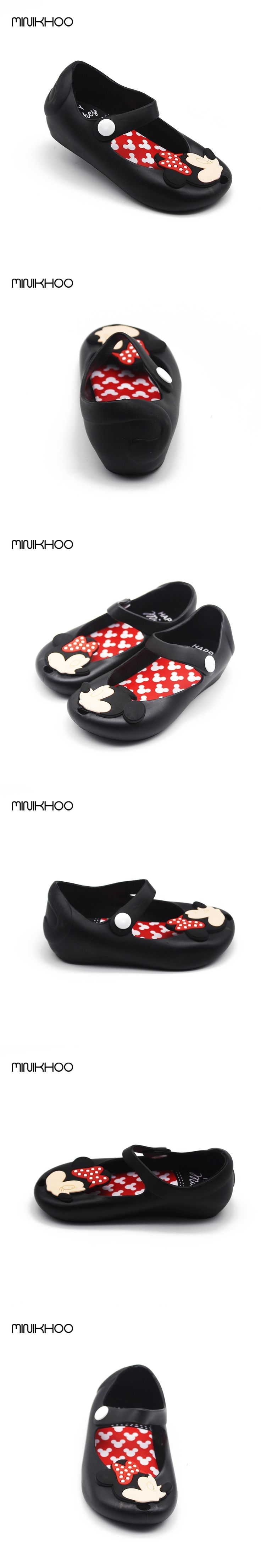 Mini Melissa 2016 Brazil New Jelly Shoes Mickey & Minnie Girls Shoes Crystal Jelly Melissa Sandals Fish Head Shoes Red Black