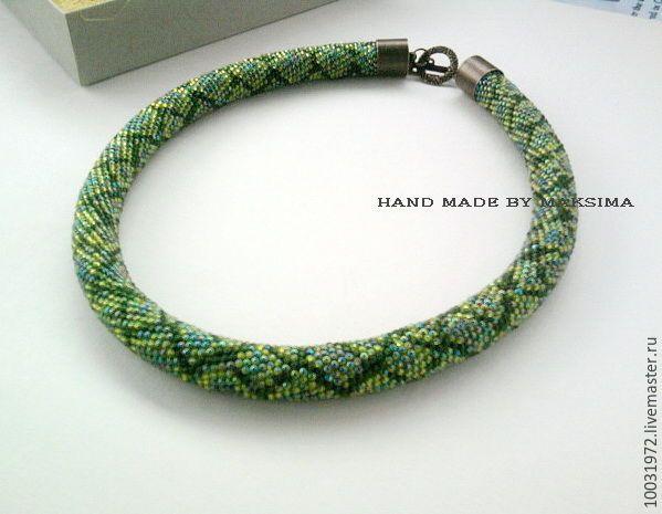 """Купить Жгут из японского бисера """"Змея Оливия"""" - зеленый, змеиный принт, змея"""