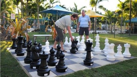 Giant chess! Challenge your fellow travellers or newfound friends to a casual game of giant chess by the pool at BIG4 Adventure Whitsunday Resort. Free activity, suitable for the bigger kids.