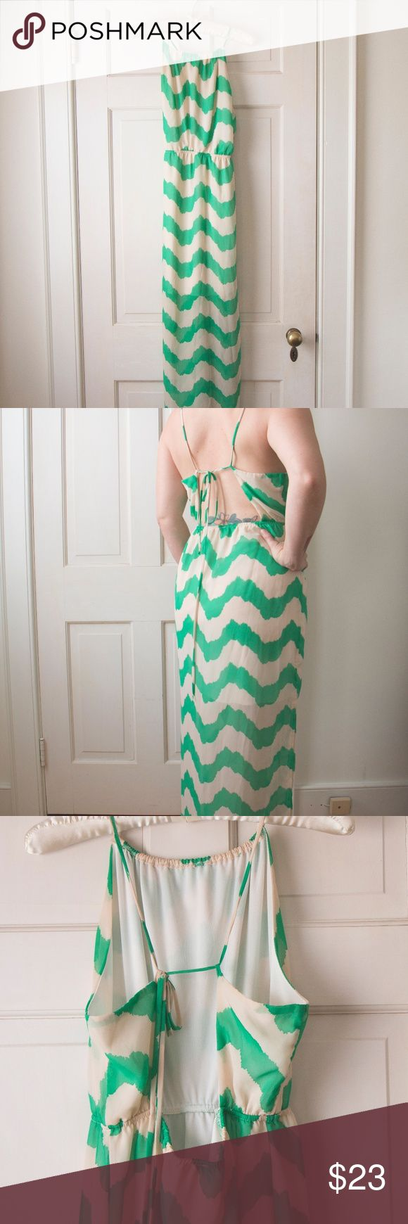 Rachel Kate Maxi Dress Extremely comfortable, open back, turquoise and white stripped maxi dress. Ties in the back. Gently worn. Rachel Kate Dresses Maxi