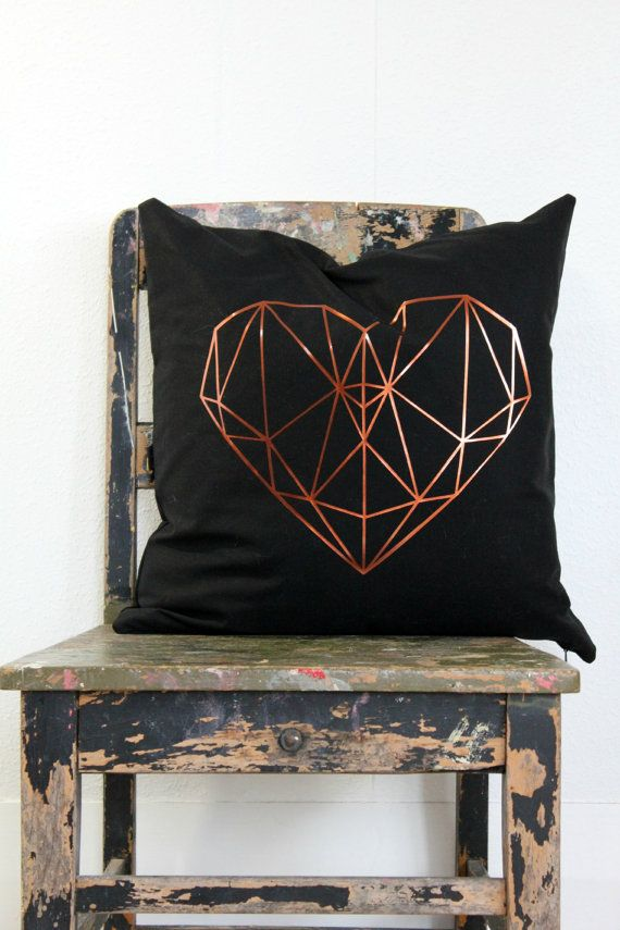 Geometric heart pillow cover, Metallic copper on black cushion cover, copper and black throw pillow, black, copper decor, teen bedroom decor