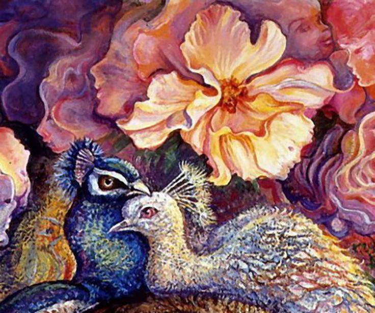 """Peacock Love (Detail Peacock Daze)"" par Josephine Wall"