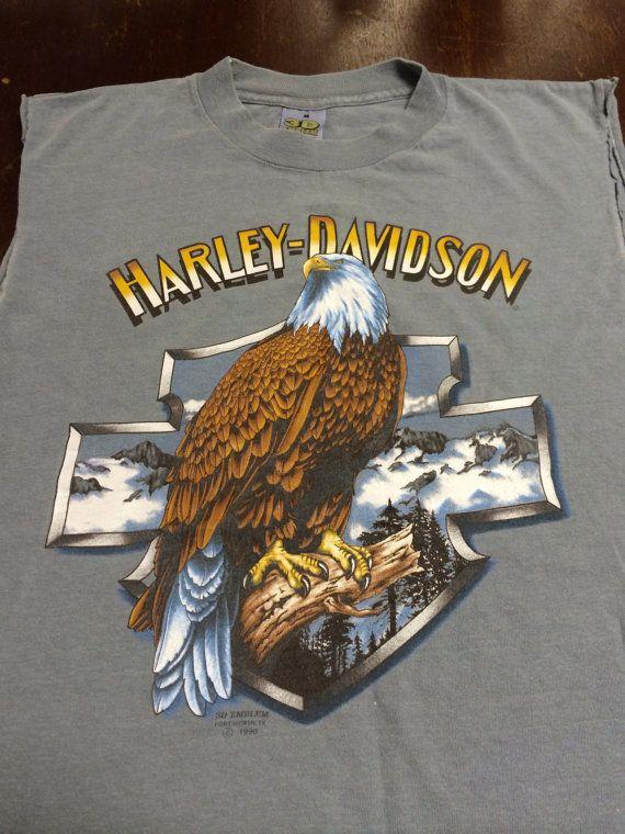 Harley Davidson Shirt 1990 Vintage 3d Emblem Original Bald Eagle