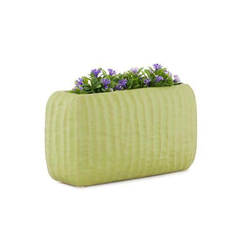 Decoratiuni - Vaza ceramica decorativa PTMD, dreptunghiulara, verde la numai 12.00 RON