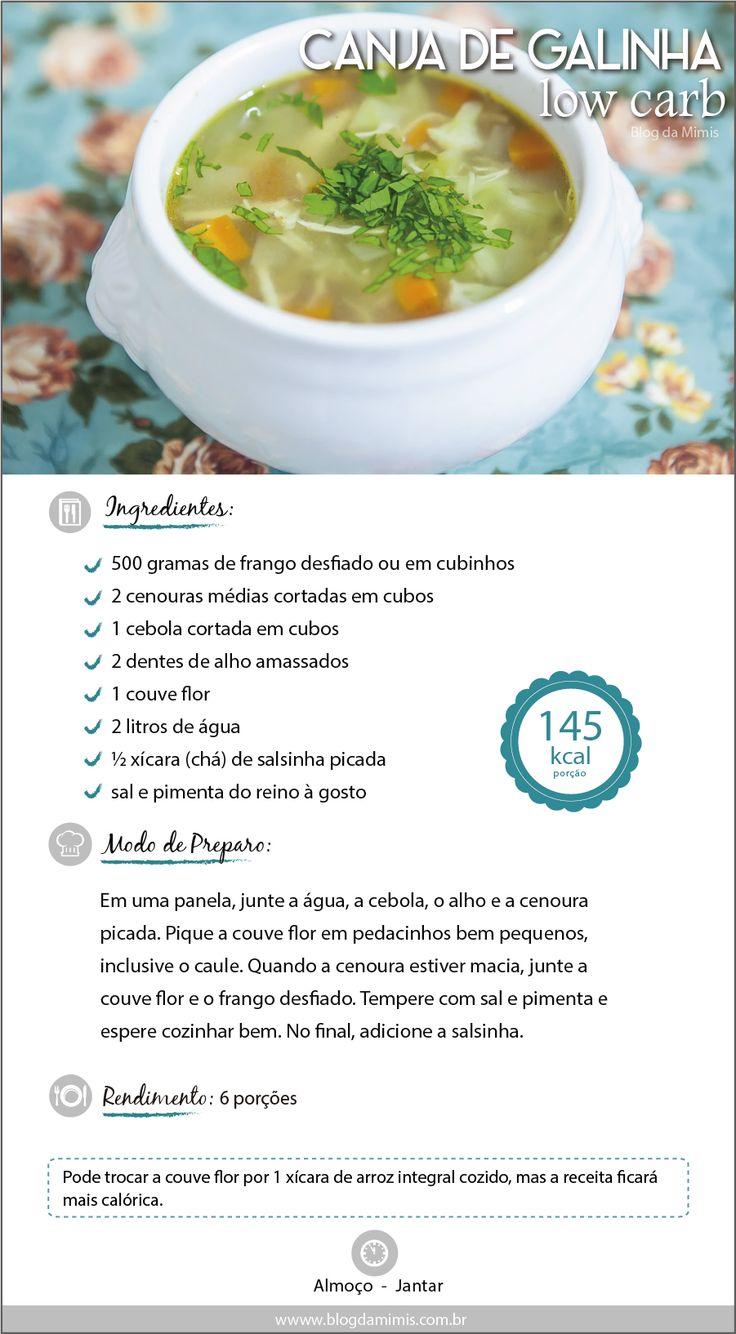 Canja de galinha lowcarb  do Blog da Mimis  Quem ama sopa?! Com esse friozinho é pedida certa!  Essa receita é sucesso aqui em casa e espero que vocês amem também!