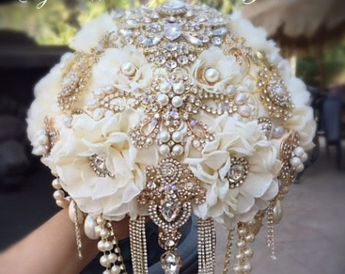 Ivory and Gold Brooch Bouquet Gold Brooch Wedding Bouquet